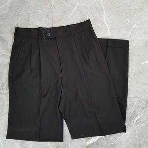 George Mens Black Straight Cut Dress Pants